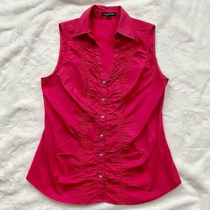 GUC Pink Sleeveless Ruched Button Front Shirt